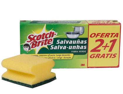 ESFREGAO SALVA UNHAS SCOTCH BRITE FIBRA VERDE PACK 3X2